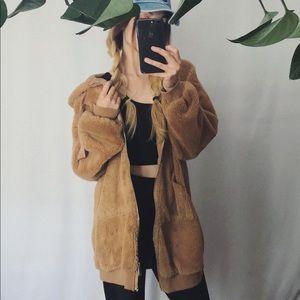Tan Oversized Teddy Jacket